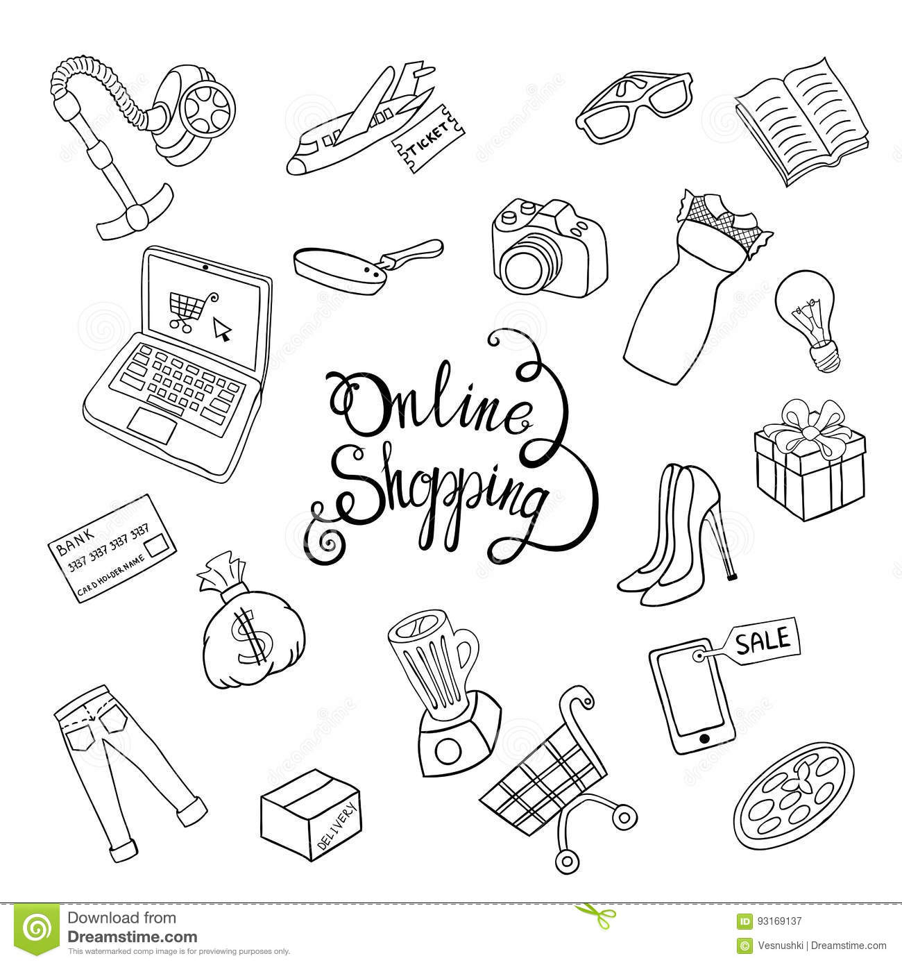 Set of sketch vector hand draw cartoon object on the online shopping concept vector illustration