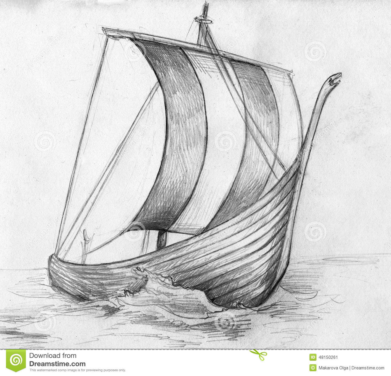 Sketch of a viking ship drakkar stock illustration illustration