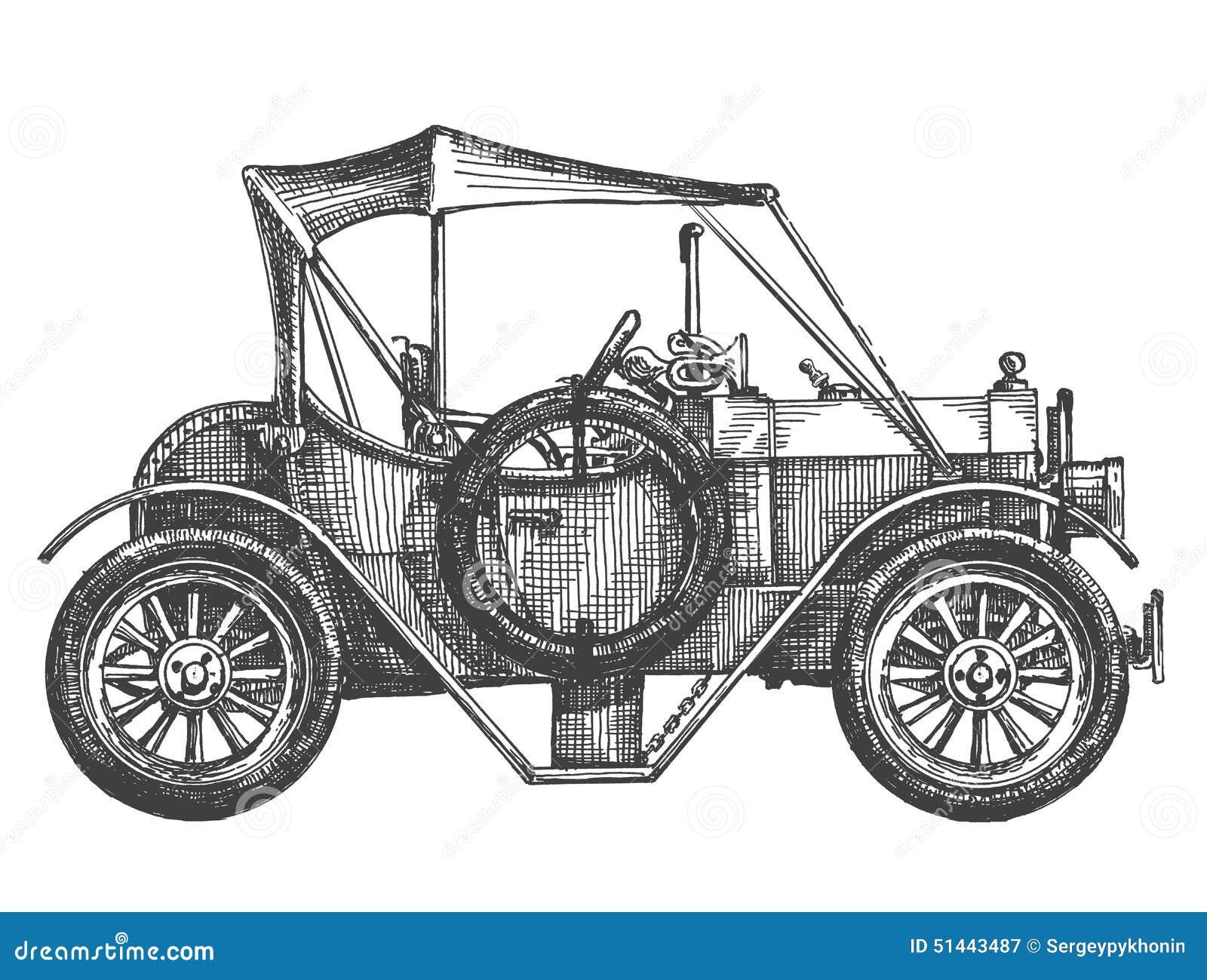 Sketch. Vintage Car On A White Background Stock Illustration - Illustration Of Automobile ...