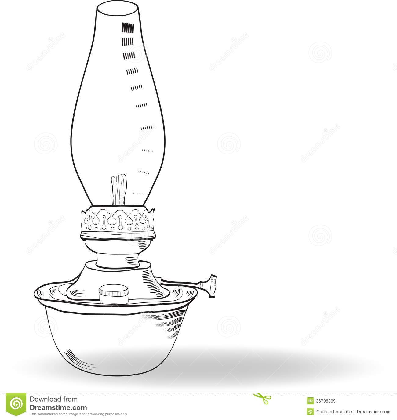Sketch Of Vintage Oil Lamp, Vector Stock Vector - Illustration of ... for Drawing Oil Lamp  300lyp