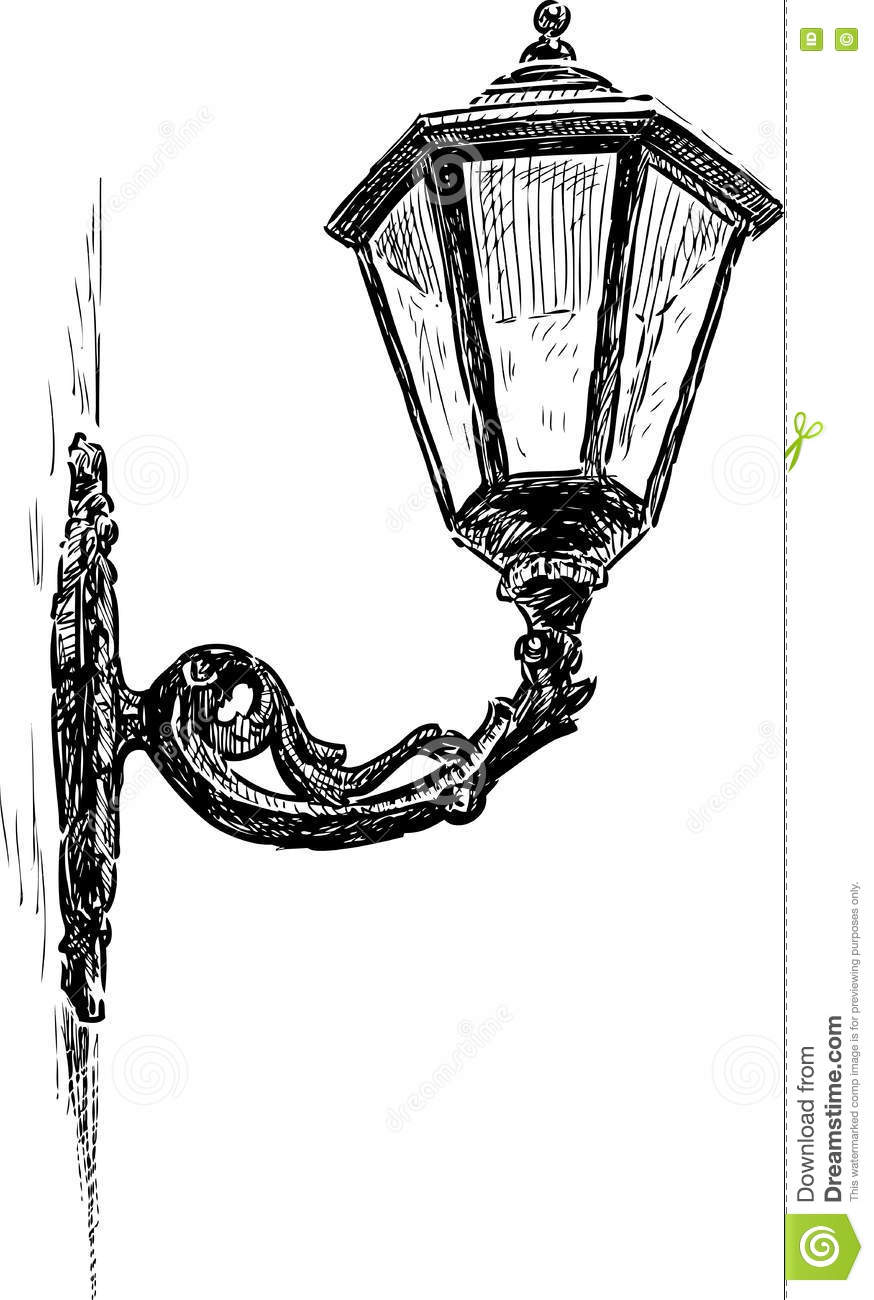 Sketch Of A Vintage Street Lamp Stock Vector - Illustration of ... for Street Lamp Drawing  55nar
