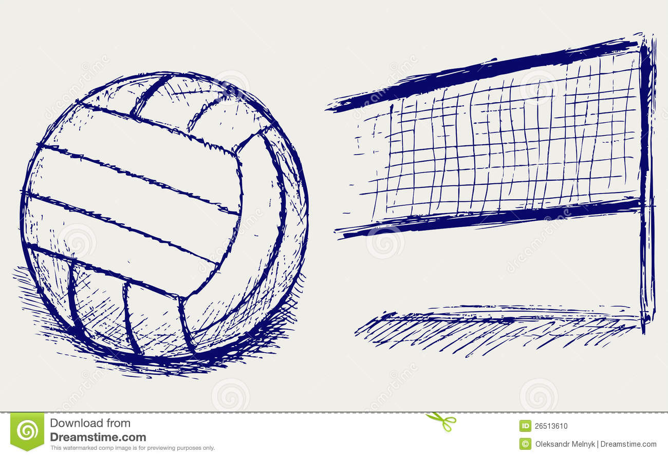 sketch volleyball stock photo   image 26513610