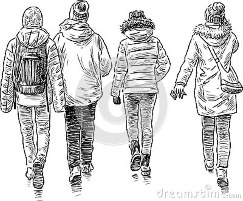 Sketch of the walking students