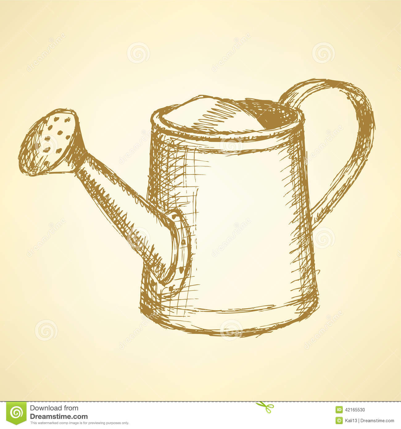 vector drawing watering can stock vector image 75522218