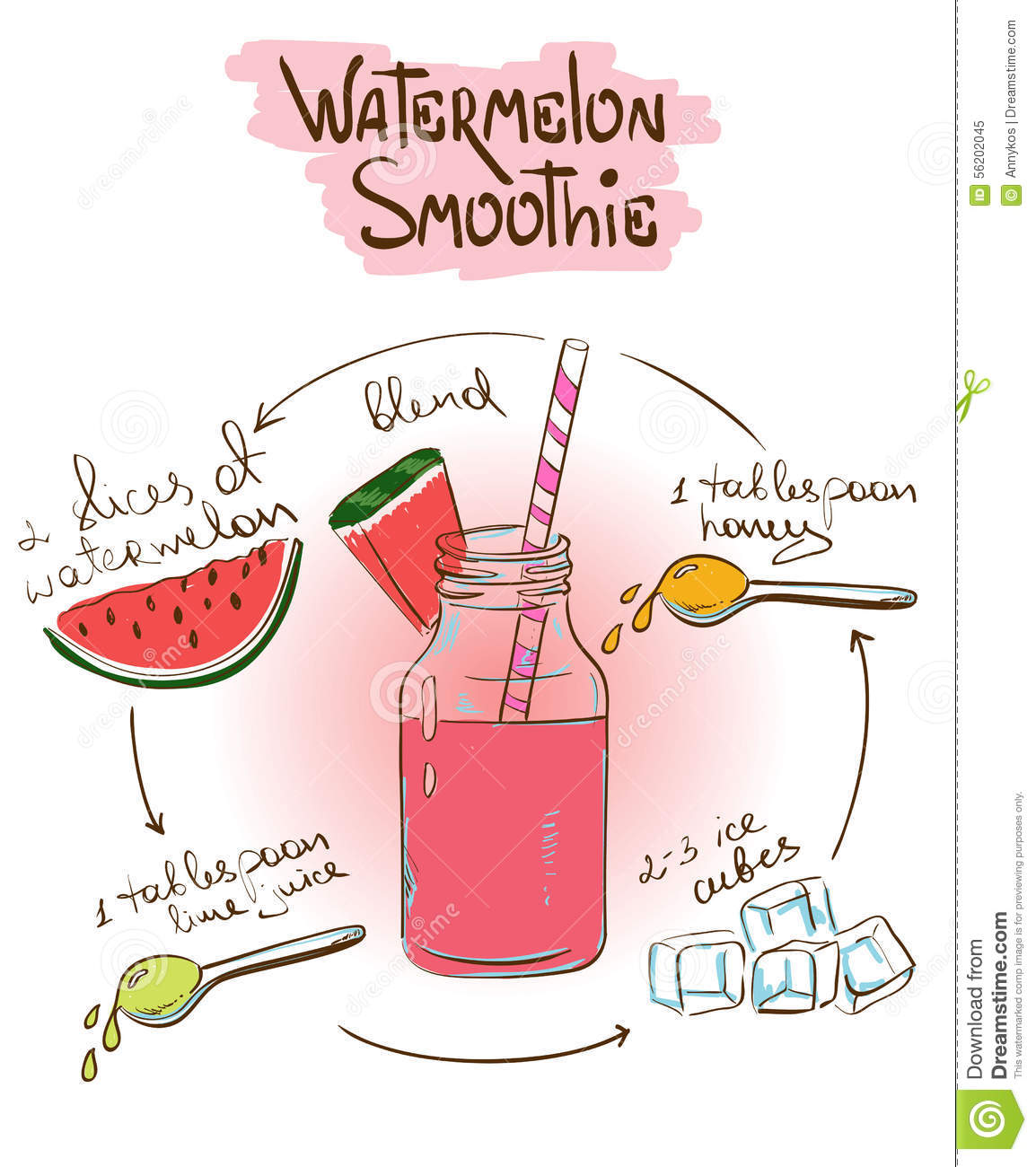 Sketch watermelon smoothie recipe stock vector image for Cocktail recipes with ingredients on hand