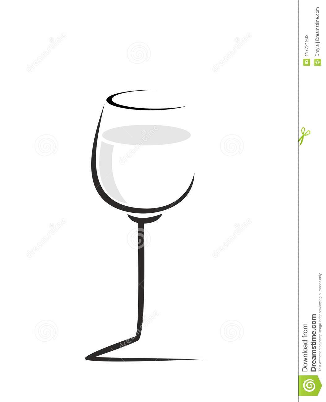 sketch of wine glass