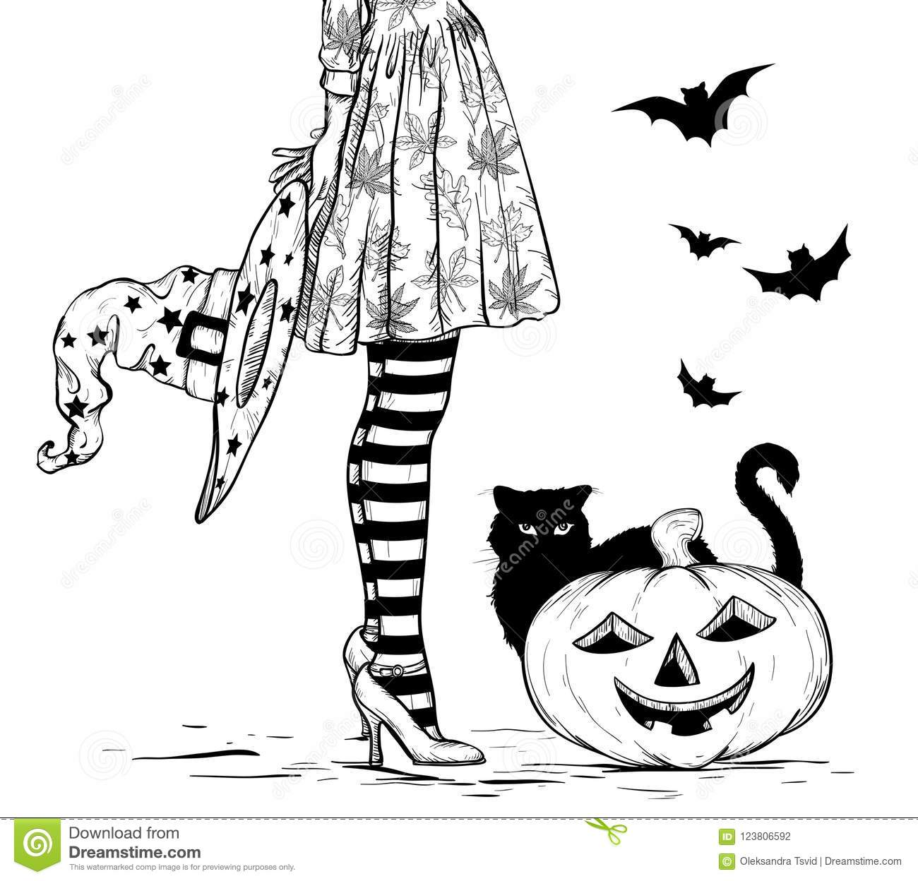 Sketch Of Witch With Wizard Hat In Hand In Halloween Costume Black