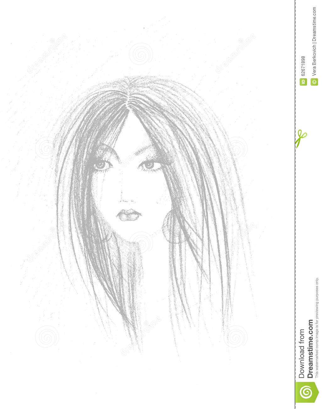 Sketch of woman face stock illustration illustration of for Sketch online free