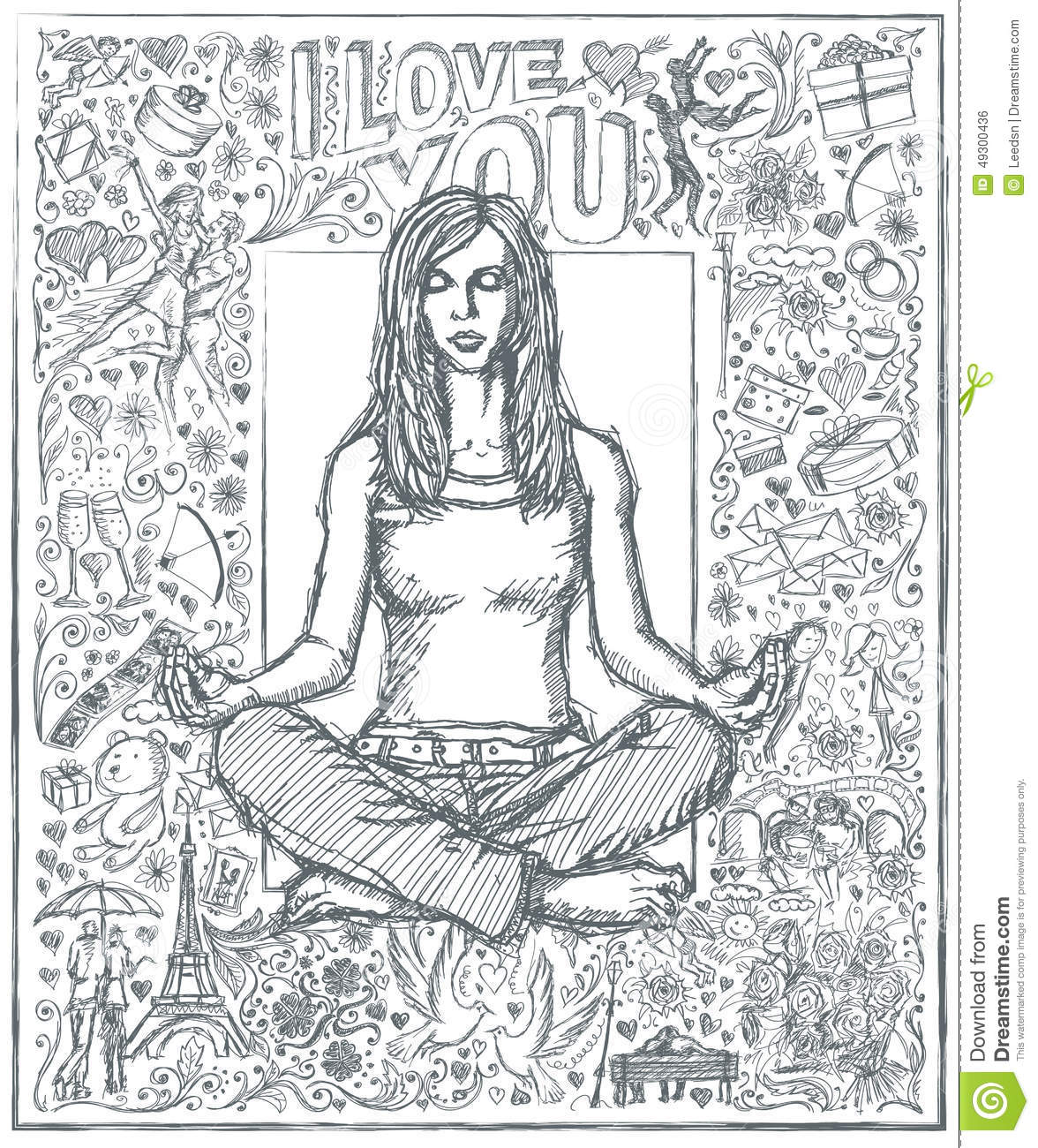 Sketch Woman Meditation In Lotus Pose Against Love Story Background 04