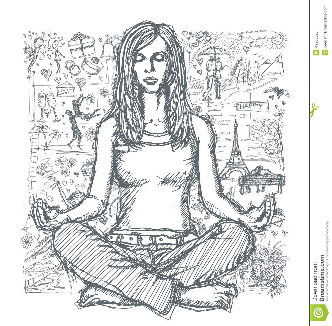 Sketch Woman Meditation In Lotus Pose Against Love Story Background 03