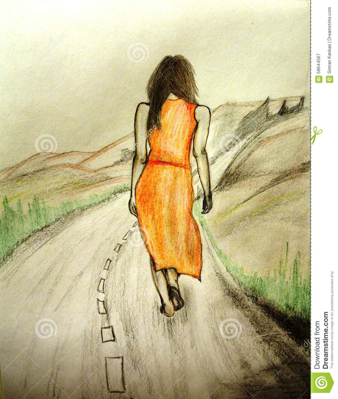 Sketch of a woman walking alone