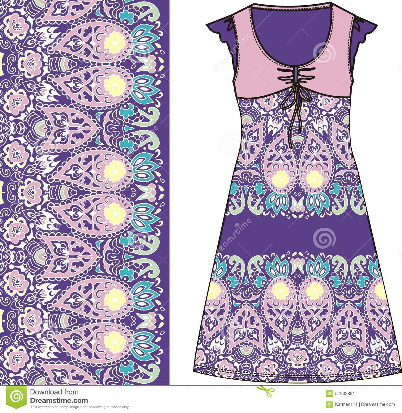 7034bf0079d471 Sketch Women s Summer Dress Purple And Pink Colors Fabric Cotton ...