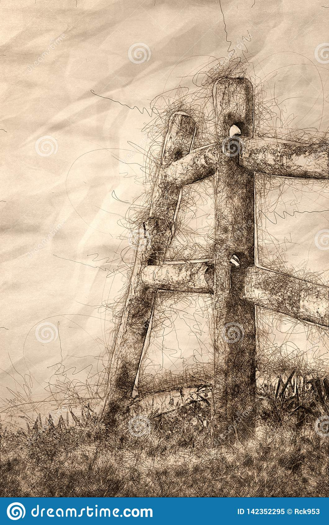 Sketch of a Wooden Rail Fence on a Foggy Spring Morning