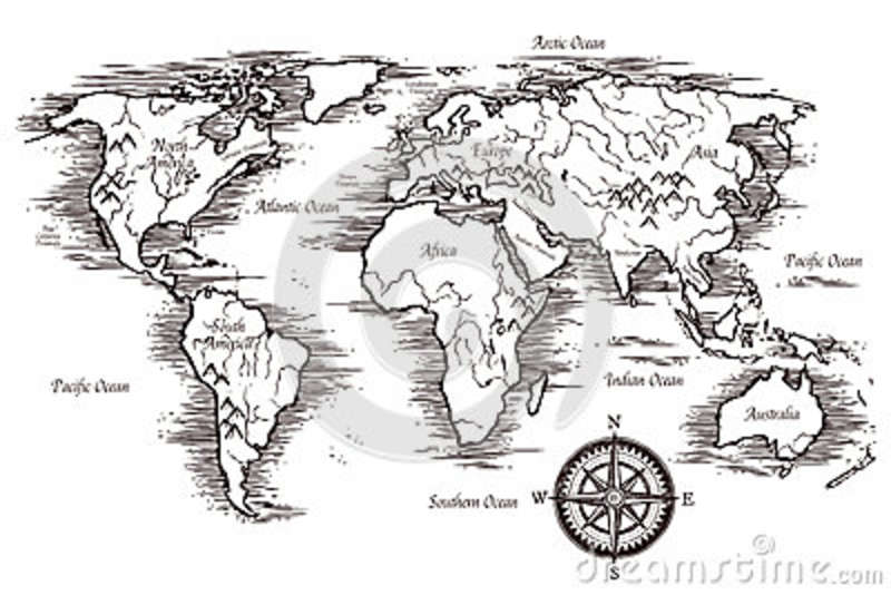 Sketch world map template stock vector illustration of banner download comp gumiabroncs Images