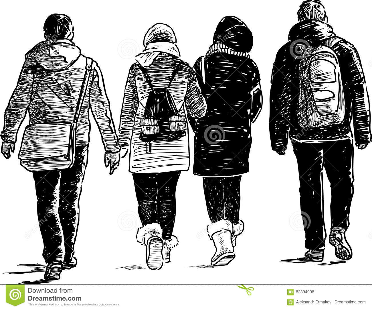 young sketch walking walk drawing students dreamstime vector illustration preview shutterstock english