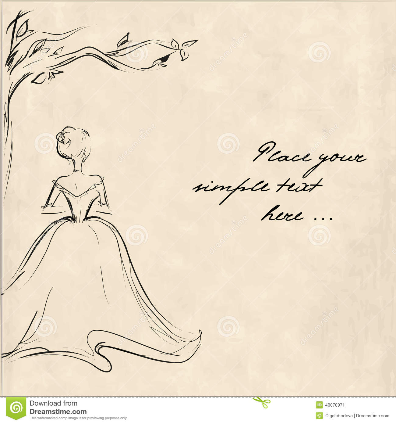 Sketch of a young woman from the back standing lonely under the tree retro