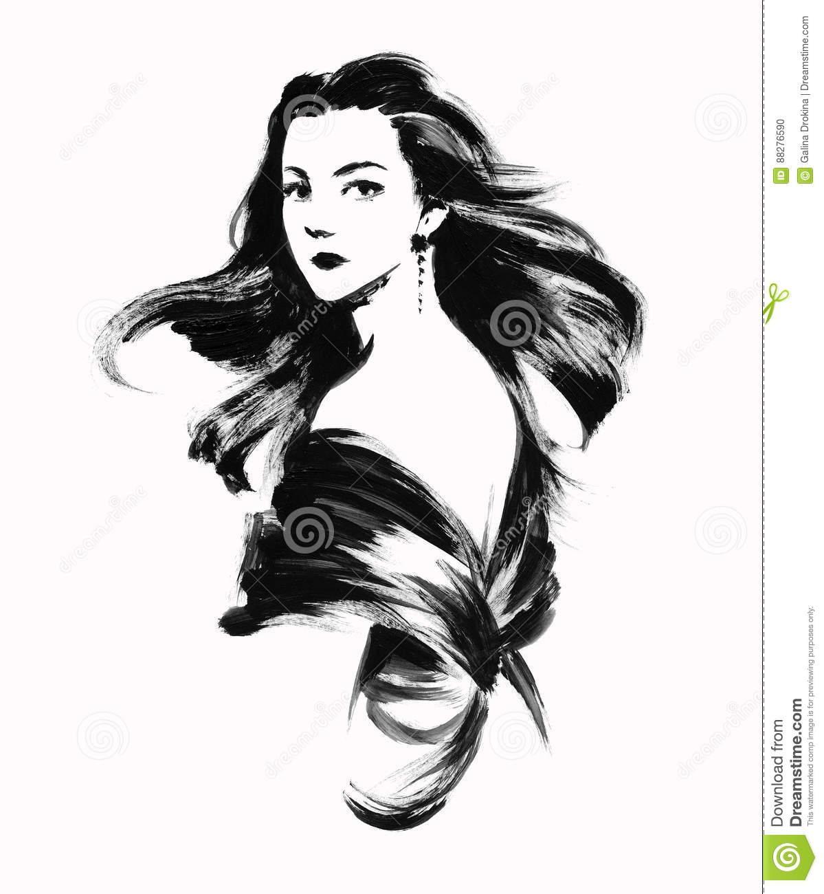 Sketch Of Young Woman With Curly Hair Stock Illustration