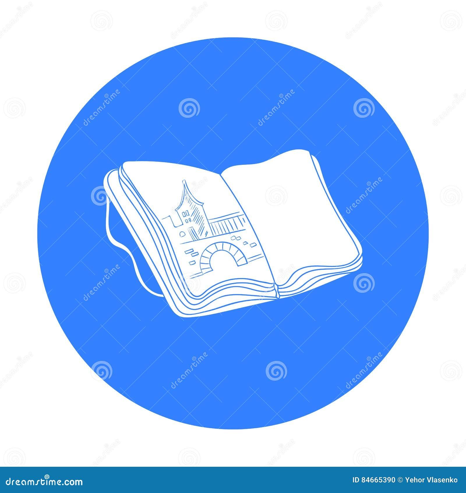 Sketchbook z rysunek ikoną w czerń stylu odizolowywającym na białym tle Artysta i rysunkowy symbolu zapasu wektor