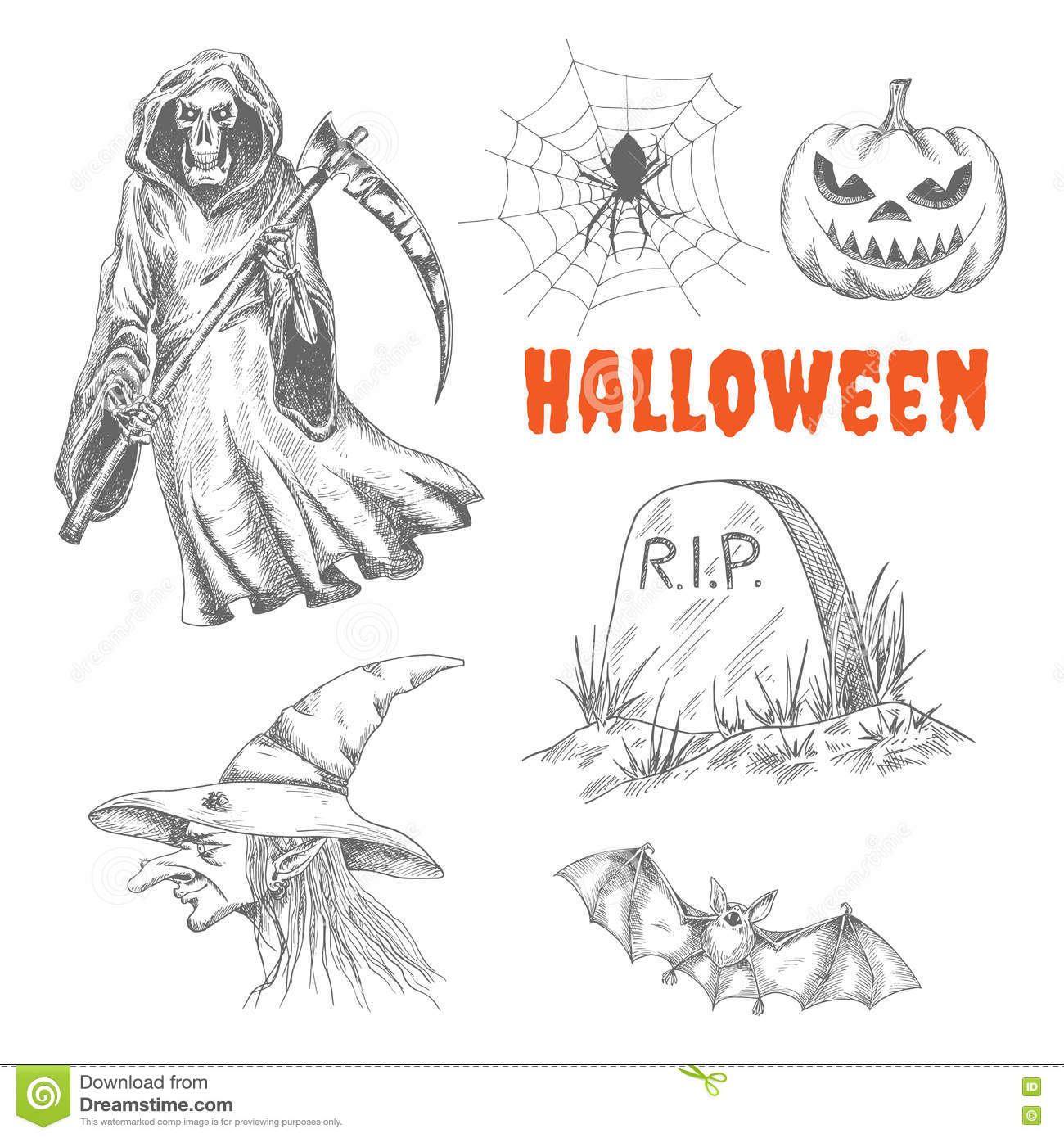 Sketched Characters For Halloween Decoration Stock Vector