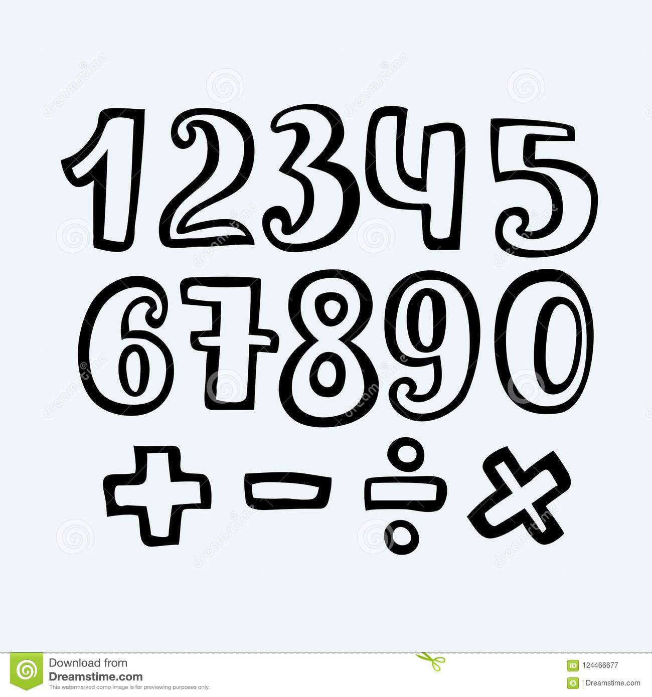 Sketched Free Hand Font Outlines, Numbers And Symbols Stock