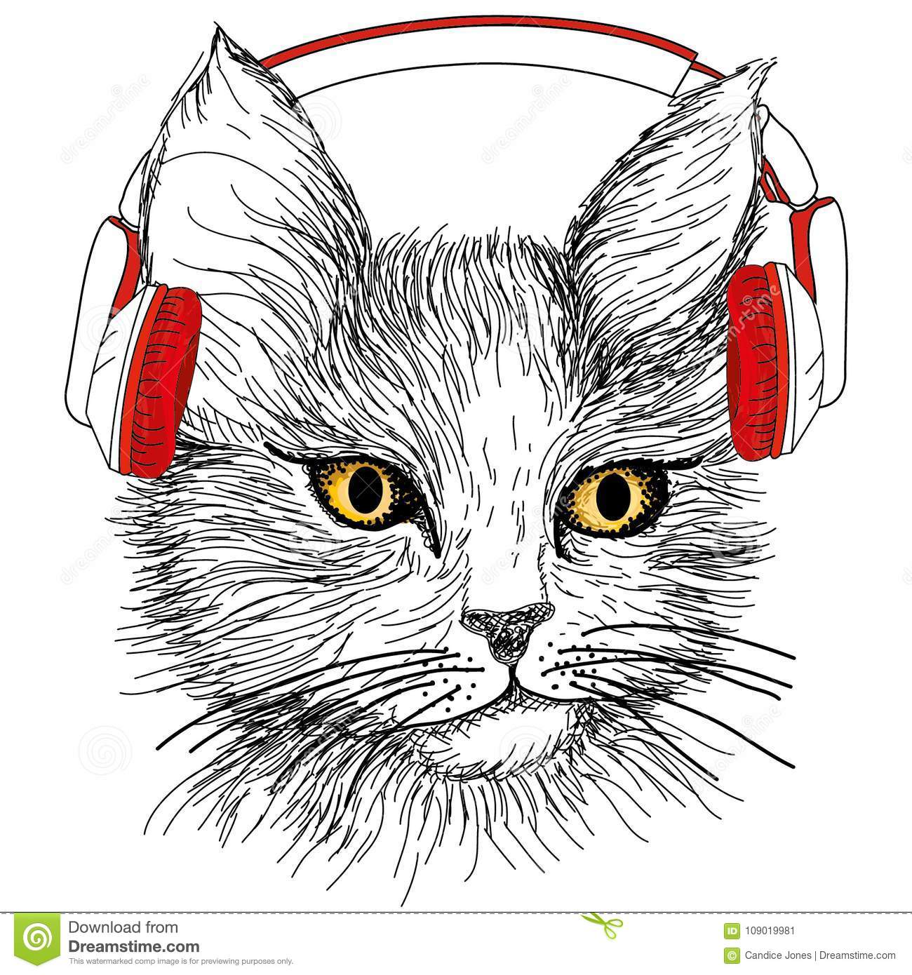 Sketched Cat With Red Earphones Stock Vector Illustration Of