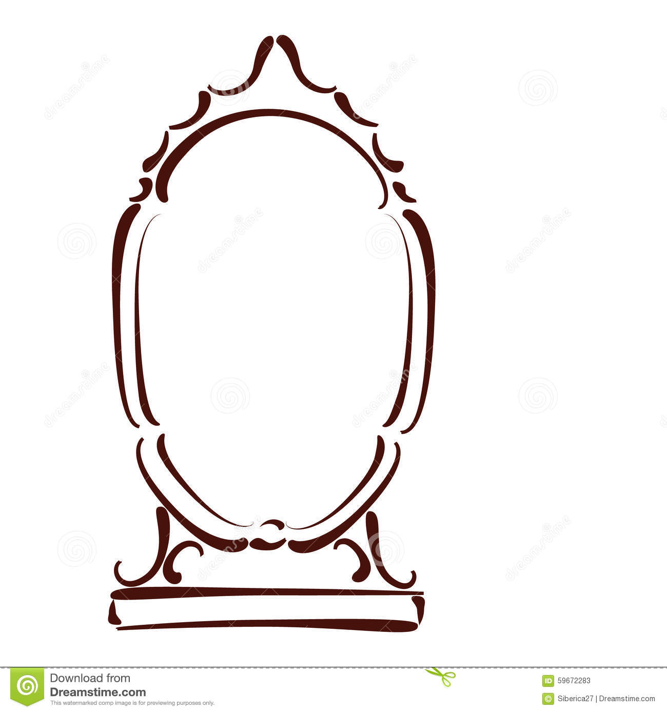 Sketched mirror stock vector image 59672283 for Mirror will template