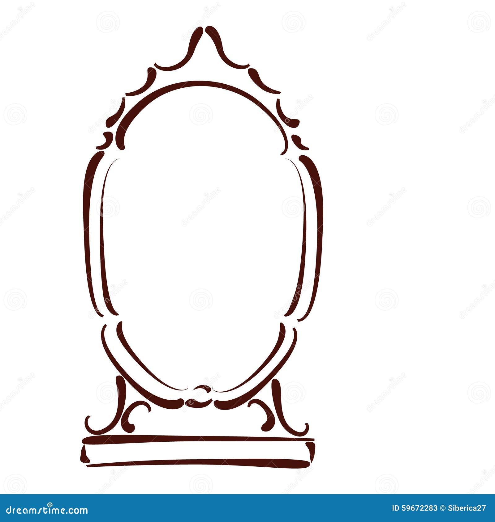 sketched mirror stock vector illustration of retro 59672283