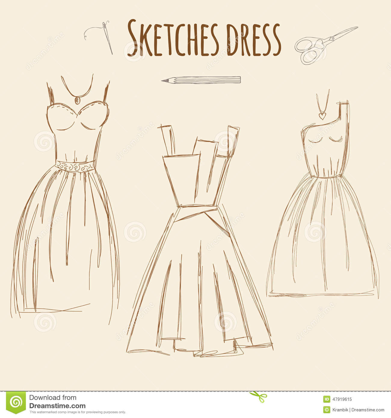 Sketches Dress Hand Drawn Illustration Stock Vector