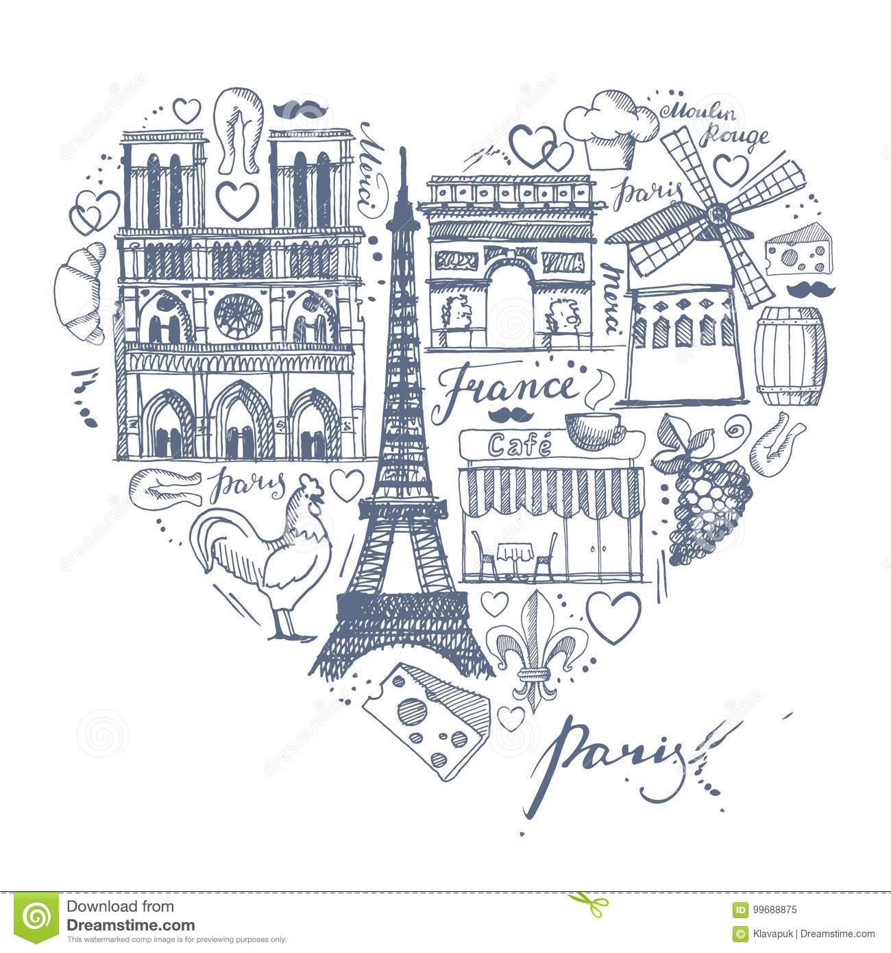 The Sketches About France And Paris In Shape Of A Heart