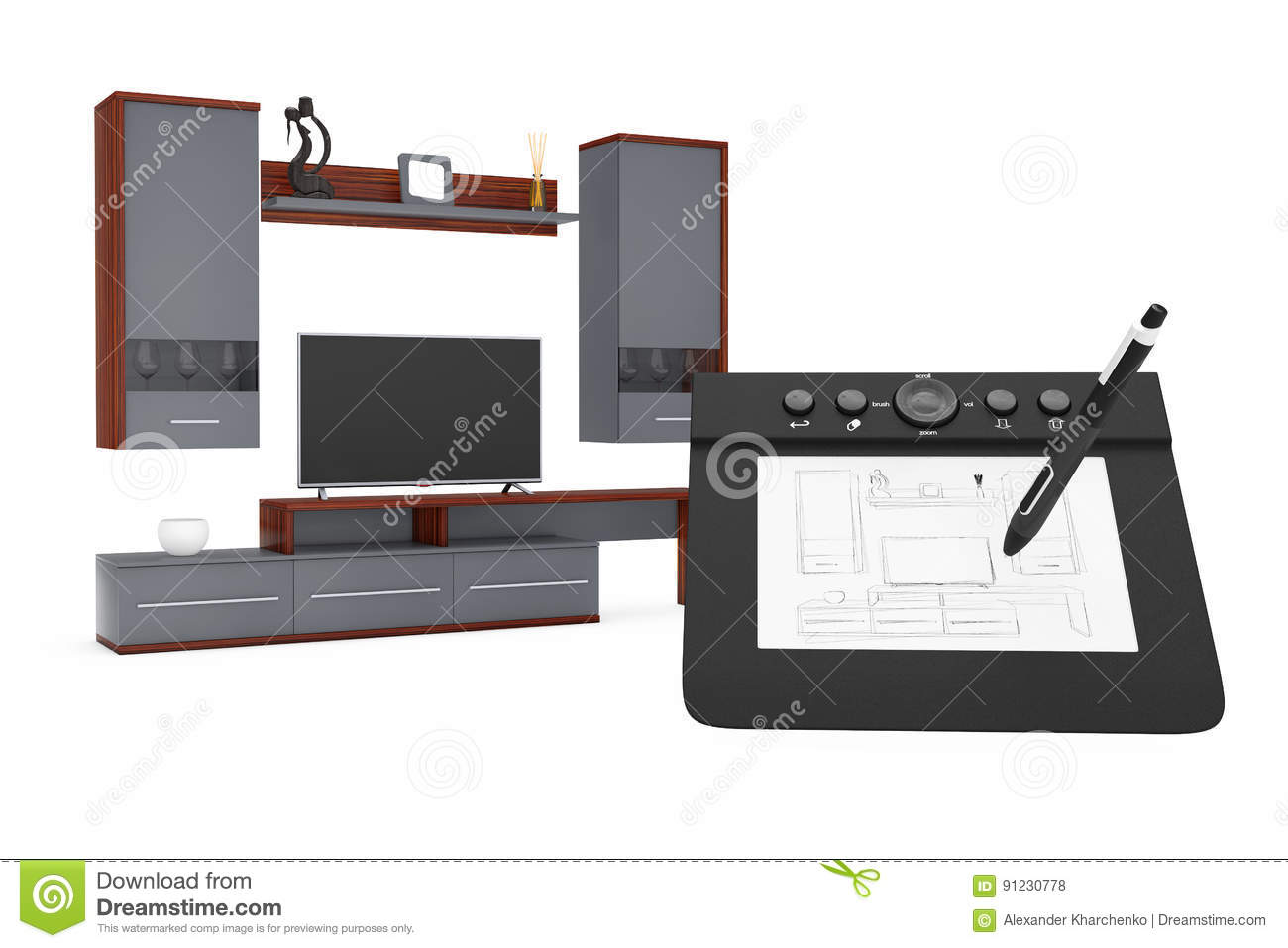 Modern Living Room Sketches from sketches hand drawing idea to modern living room wall unit