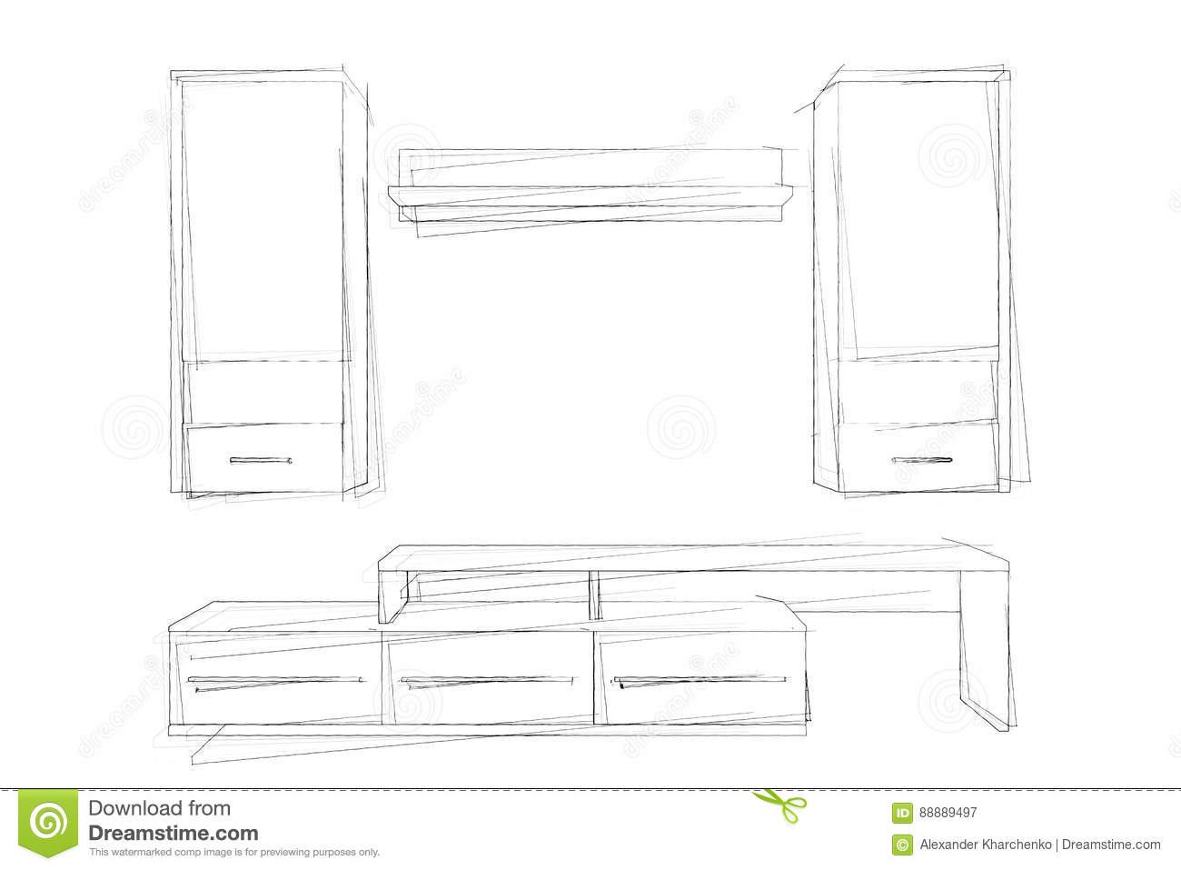Modern Living Room Sketches sketches hand drawing of modern living room wall unit. 3d render