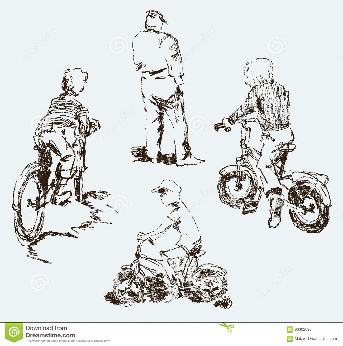 sketches of the kids on the bikes in the city street - Sketches Of Kids