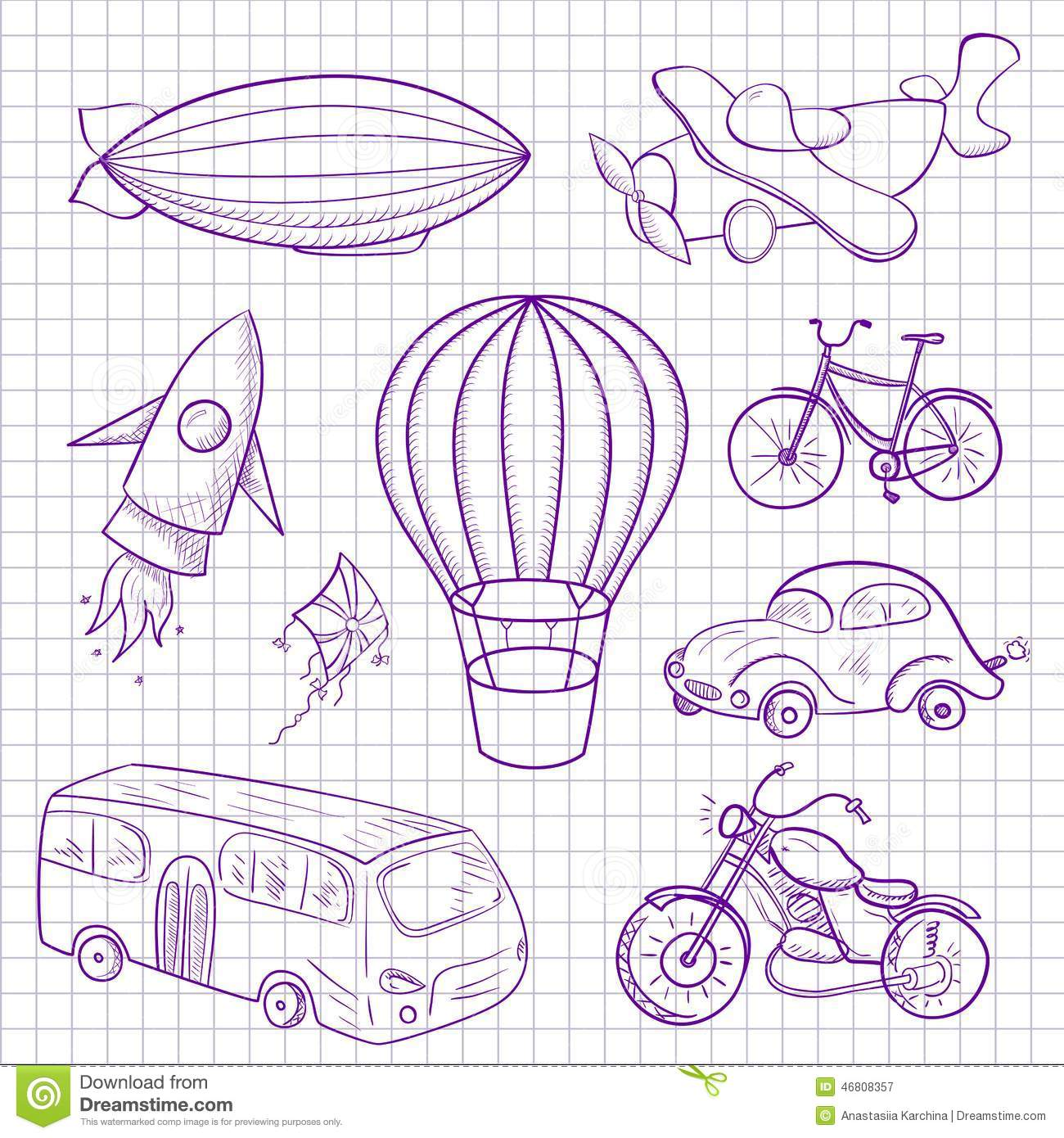 Sketches Means Of Transport Vector Illustration Stock Vector