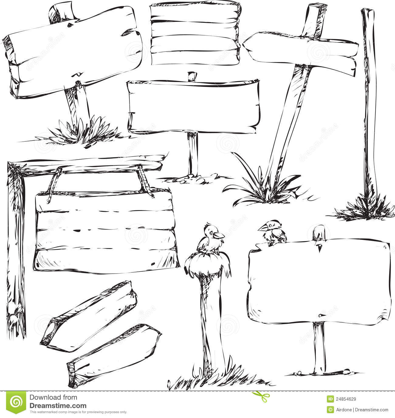 Sketches Of Sign Boards Royalty Free Stock Images Image