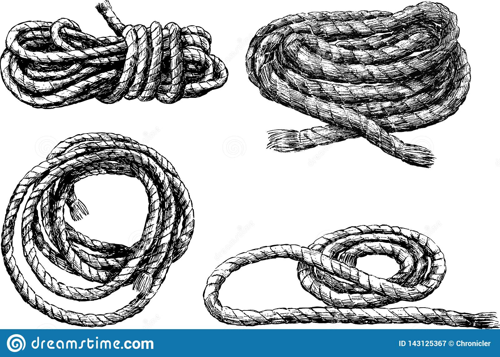 Sketches of skeins of rigging rope