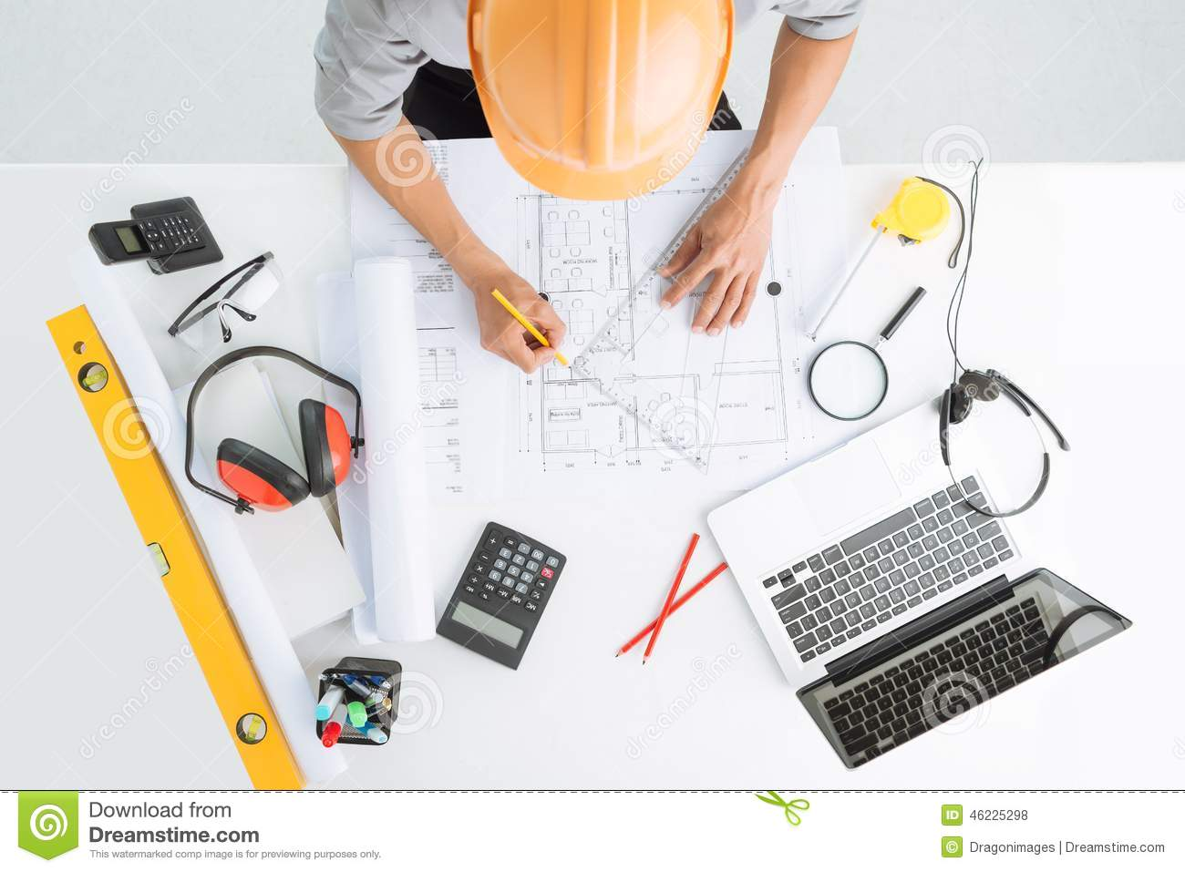 Sketching A Construction Project Stock Photo Image Of Draft
