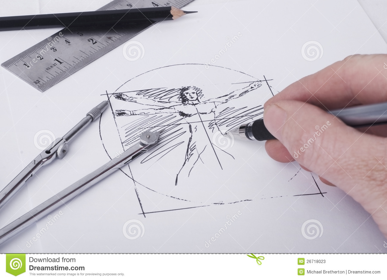 Person doing a sketch based on the Vitruvian Man(Note the illustration