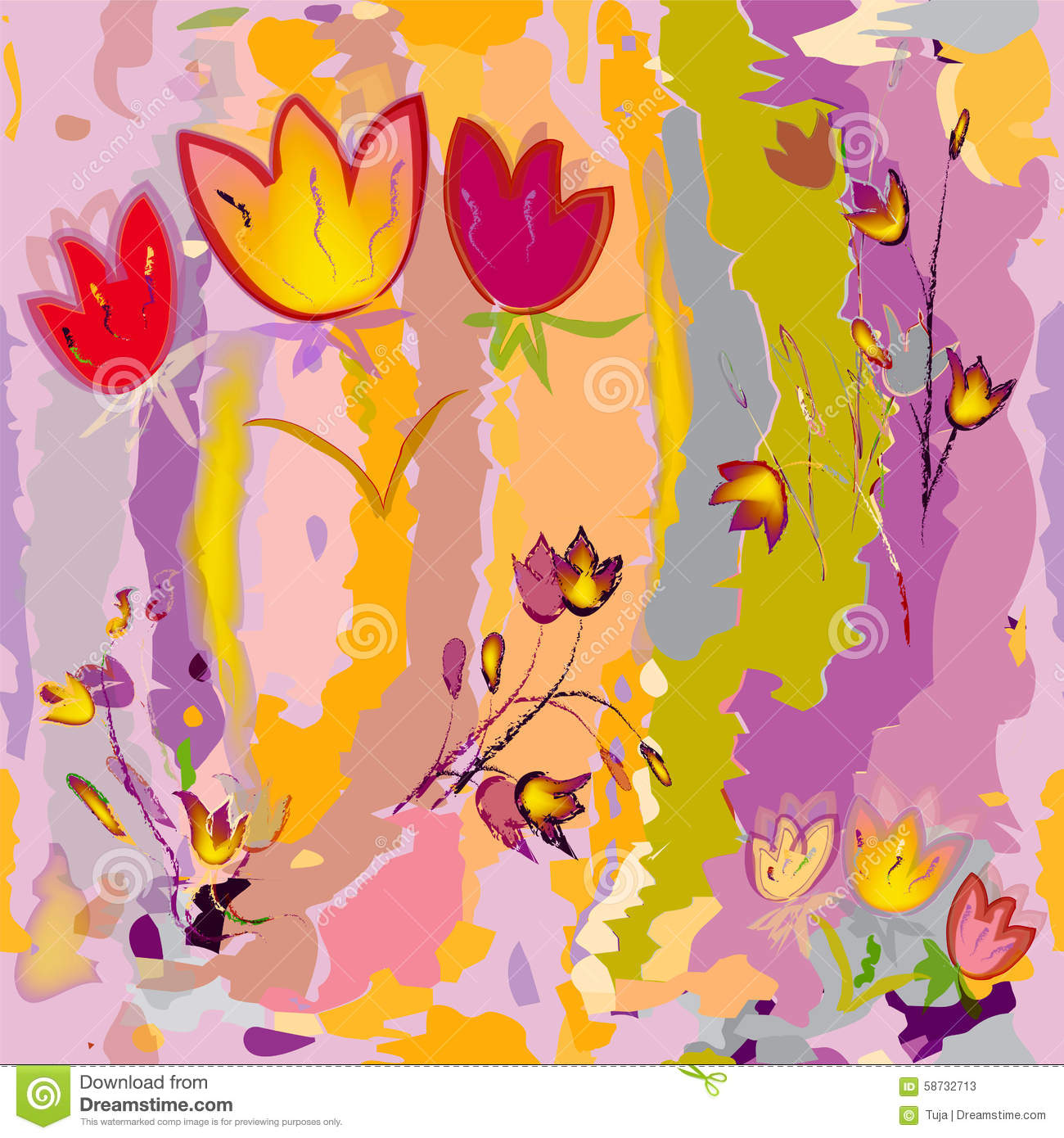 Sketching stylized tulips on colorful watercolor background