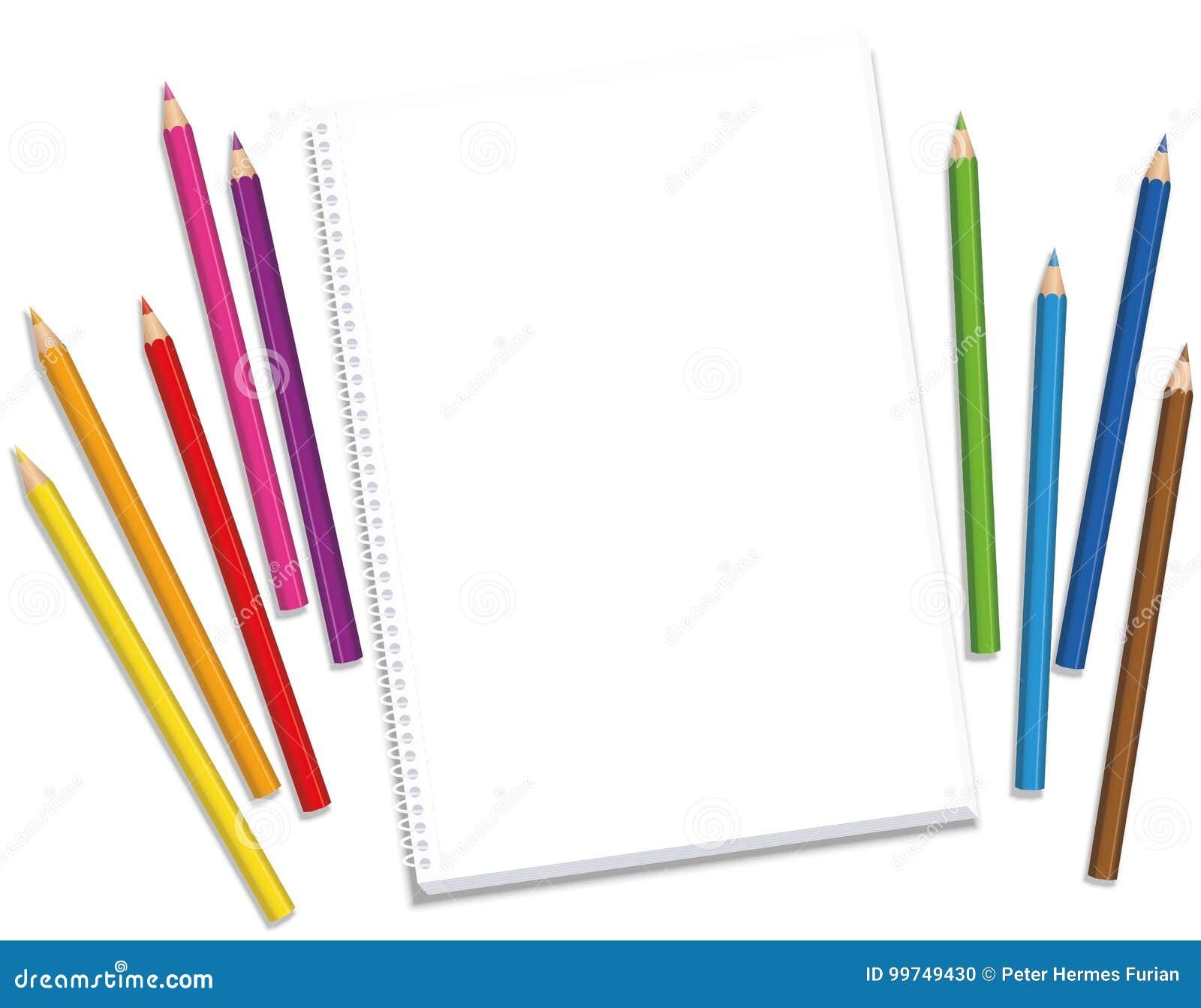 Sketchpad Crayons Blank Drawing Stock Vector - Illustration