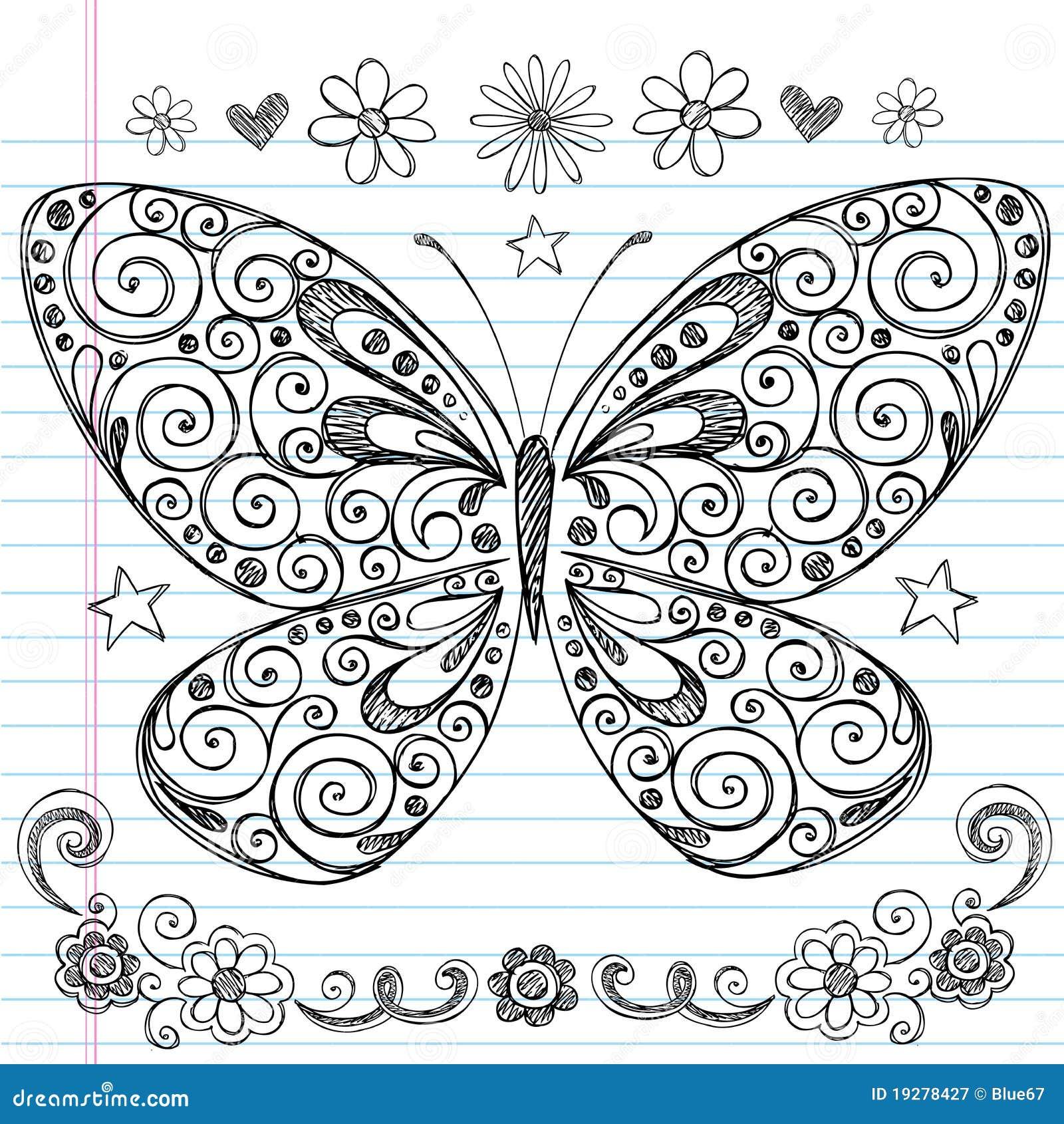 Sketchy Back för fjäril till skolaklotter