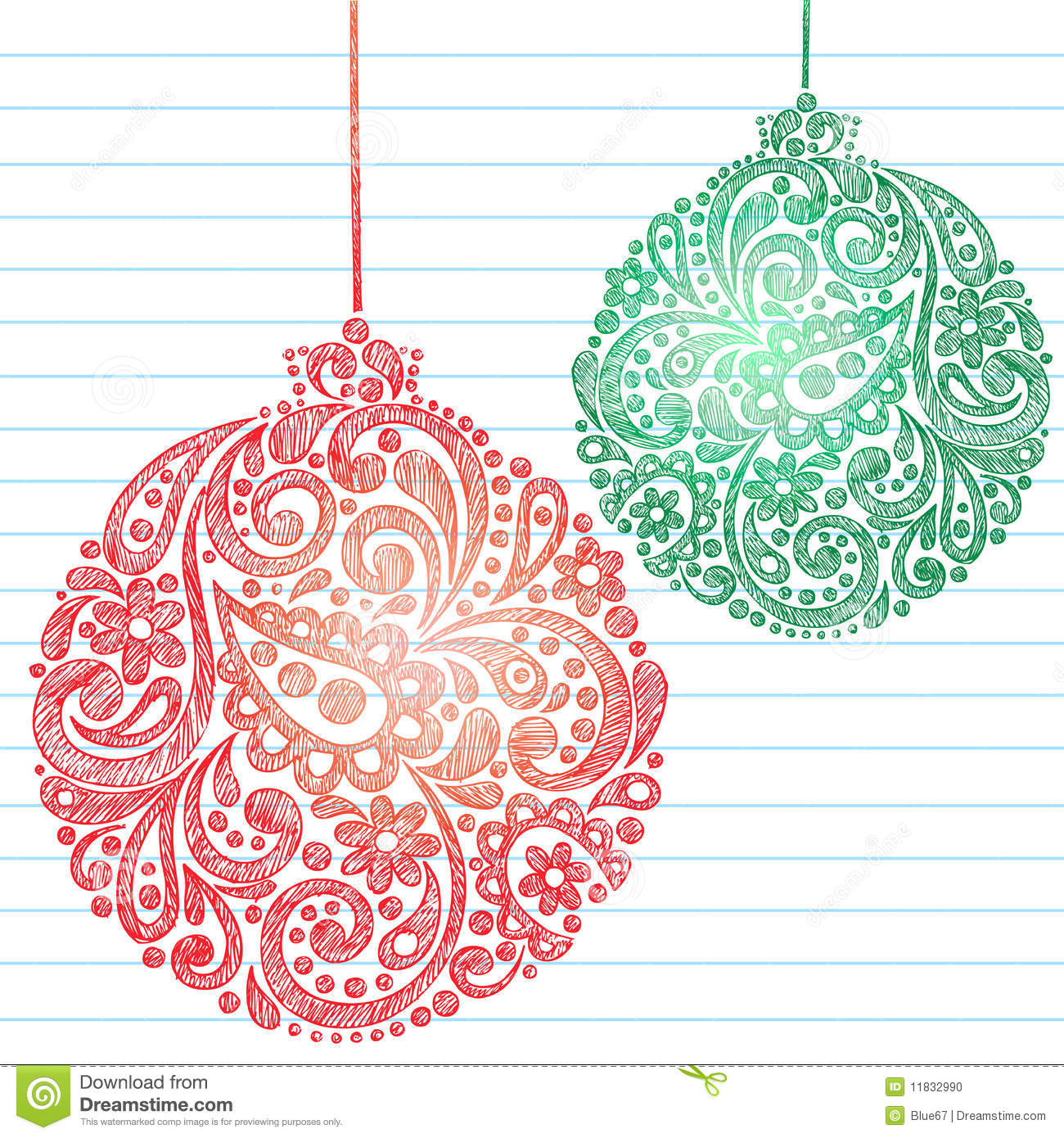 Sketchy Christmas Ornaments Notebook Doodles Stock Vector ...