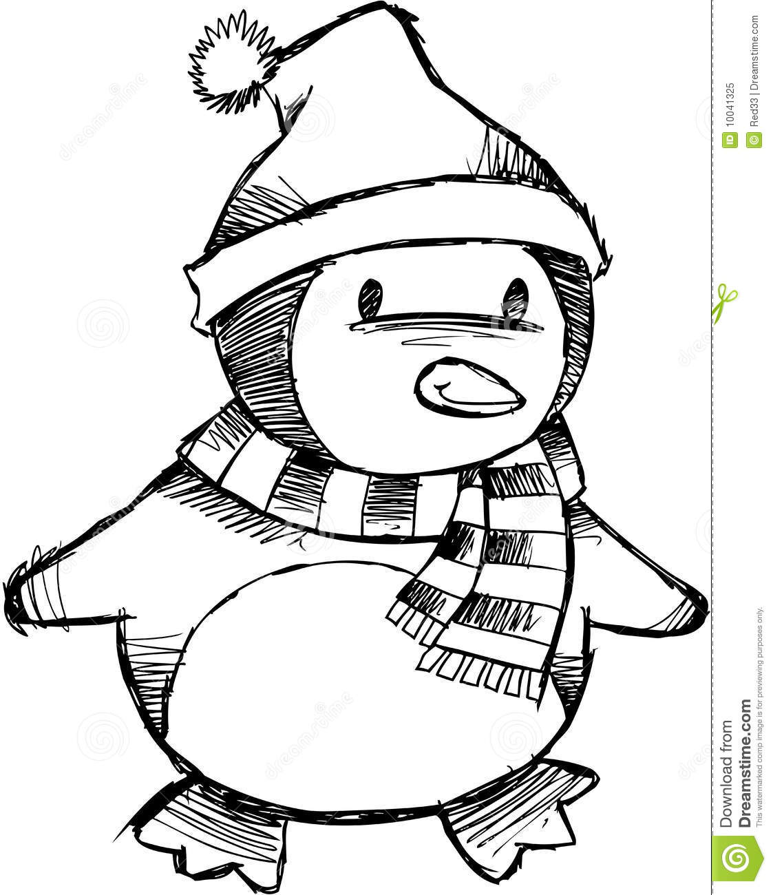 Line Drawing Ideas Ks : Sketchy christmas penguin vector stock