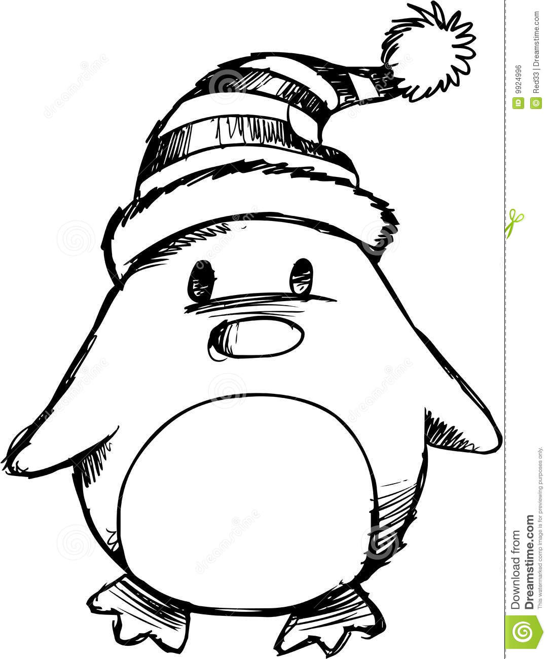 Sketchy Christmas Penguin Vector Royalty Free Stock Image - Image ...