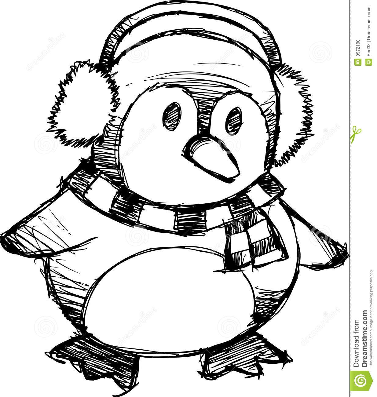Sketchy Christmas Penguin Vector Stock Photo - Image: 9972180