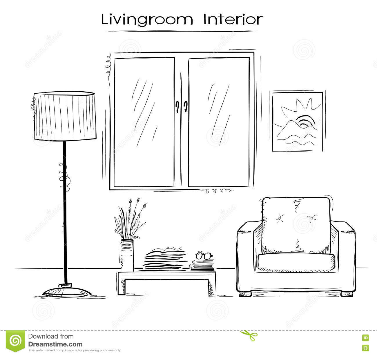 Sketchy Color Illustration Of Bedroom Interior.Vector Hand