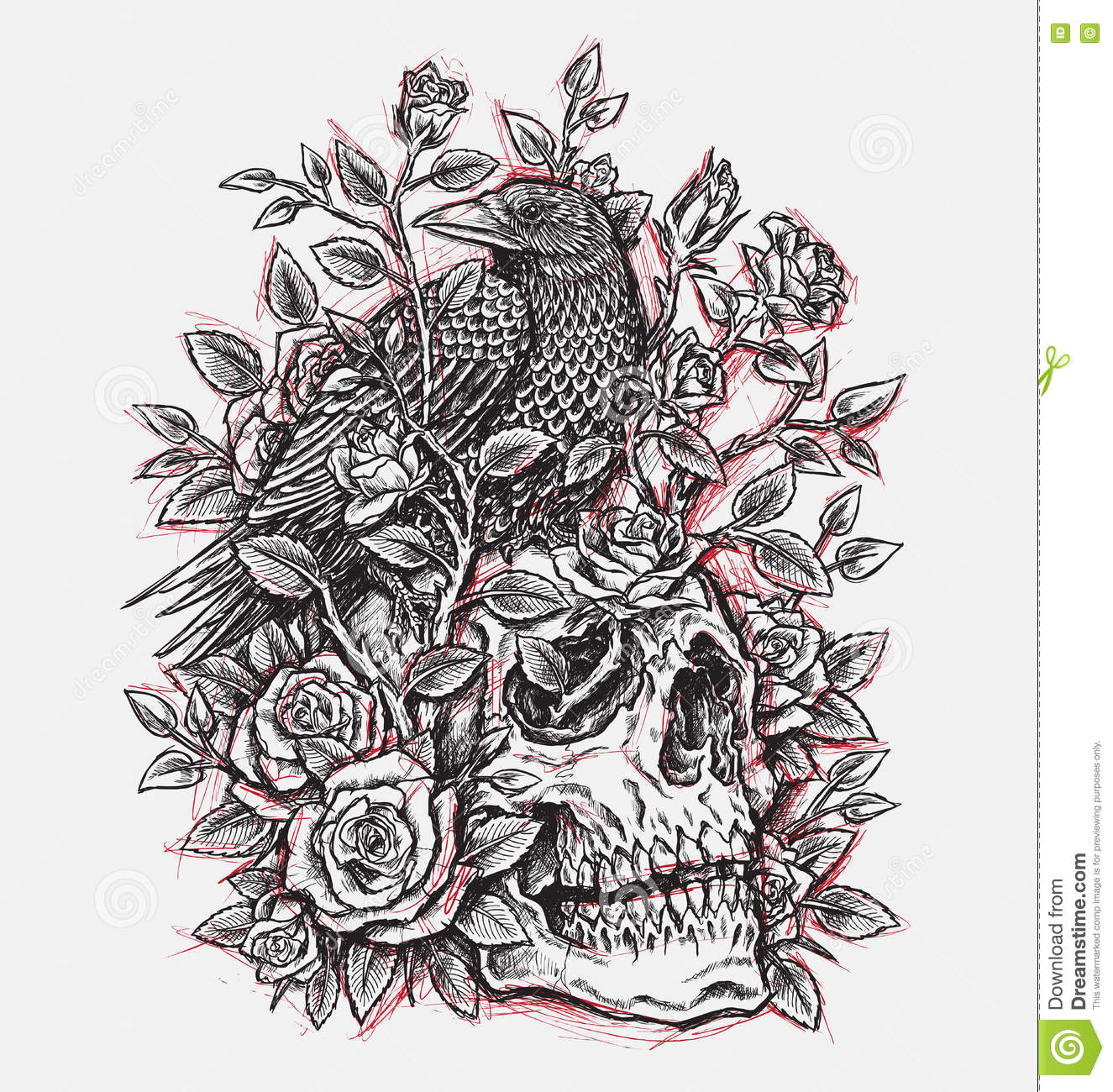 Sketchy Crow Roses And Skull Tattoo Design Linework Stock Vector