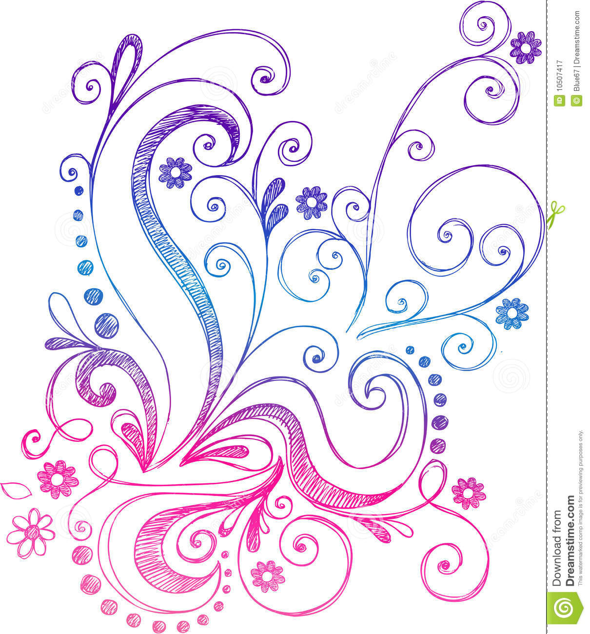 Sketchy Doodle Flowers And Vines Vector Stock Vector