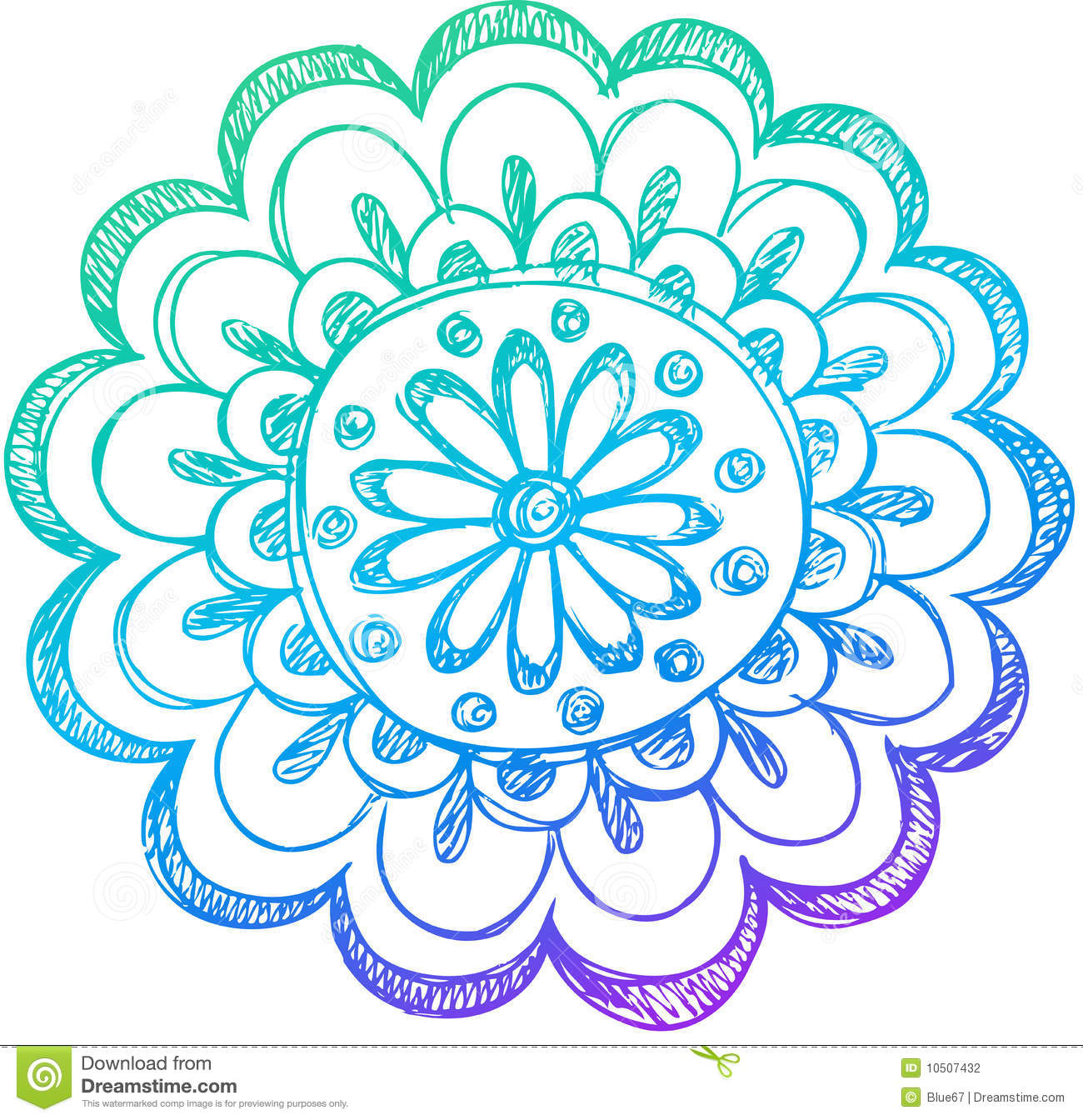 Sketchy Doodle Henna Flower Vector Stock Vector Illustration Of