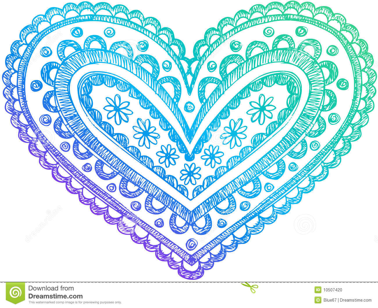 Sketchy Doodle Henna Heart Vector Stock Photo - Image ...