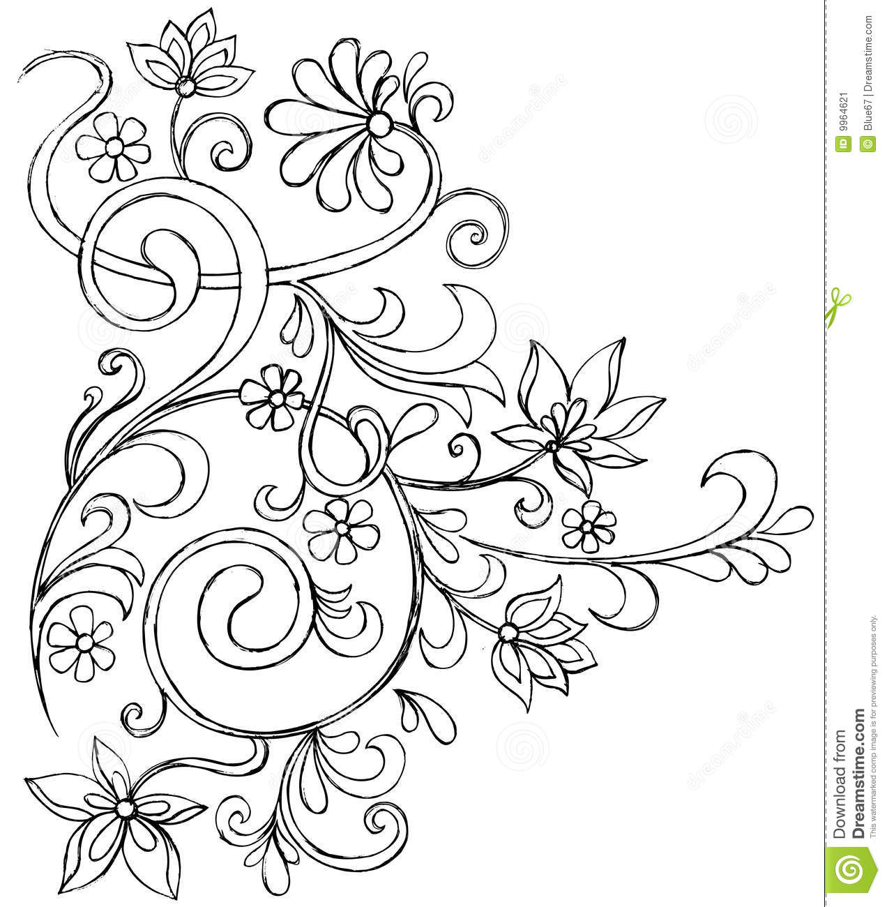 sketchy doodle ornate scroll vector stock image image 9964621